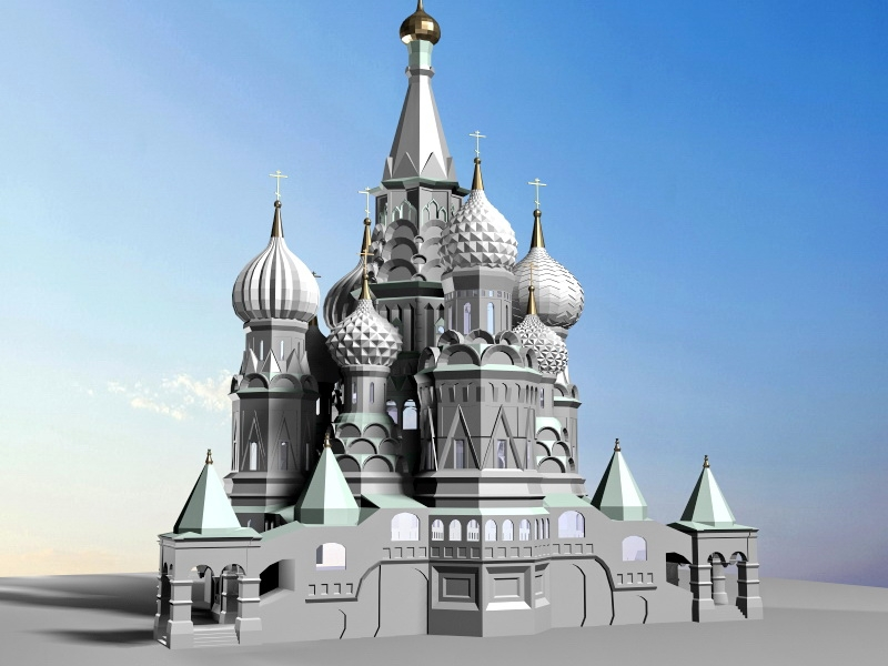 Russia Saint Basil's Cathedral 3d rendering