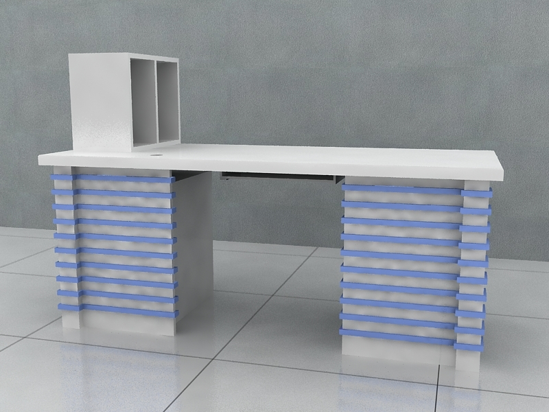 Office Computer Desk with Hutch 3d rendering