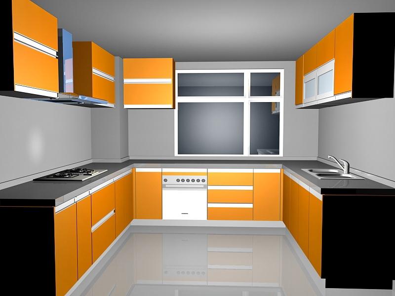 Orange Kitchen Design Ideas 3d rendering