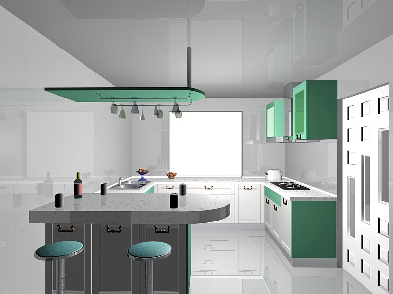White and Green Kitchen Ideas 3d rendering