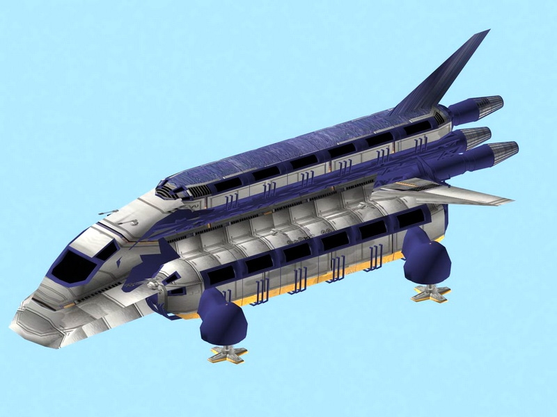 Sci-Fi Cargo Freighter Ship 3d rendering