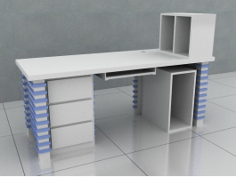 Office Computer Desk with Hutch 3d preview