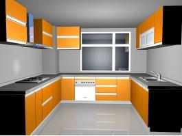 Orange Kitchen Design Ideas 3d preview