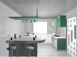 White and Green Kitchen Ideas 3d preview