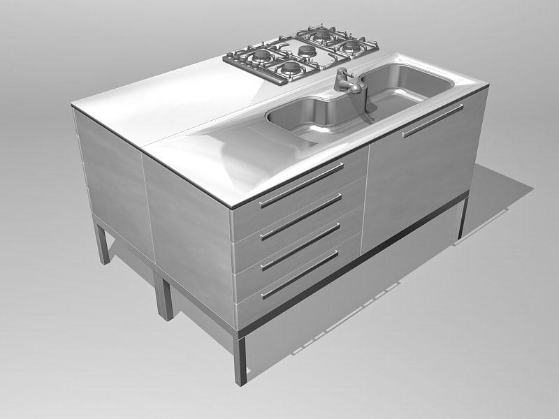 Commercial Kitchen Stove 3d rendering