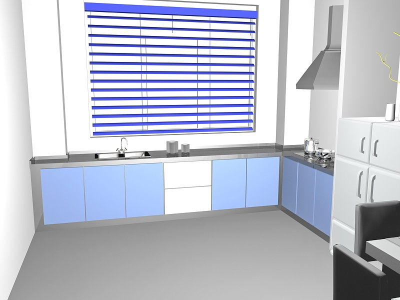 Small Apartment Kitchen with Dining Table 3d rendering