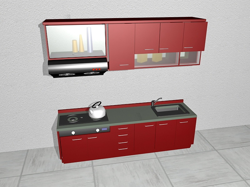 Small Apartment Red Kitchen Design 3d rendering