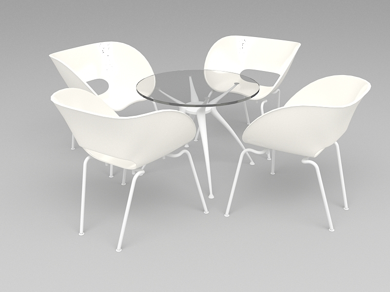 Glass Dining Table Set 3d rendering