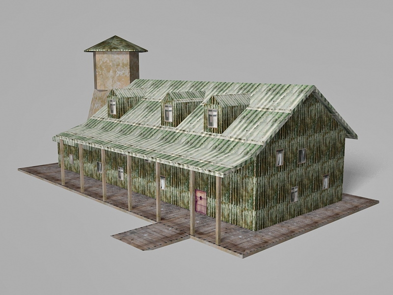 Empty Old House 3d rendering