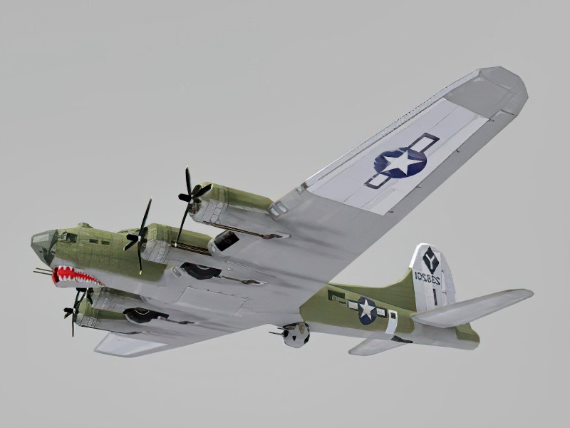 Boeing B-17 Flying Fortress Low Poly 3d rendering