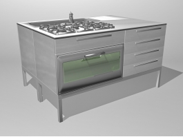 Commercial Kitchen Stove 3d preview