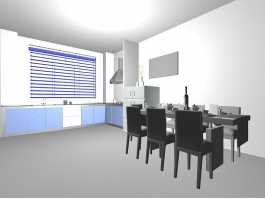 Small Apartment Kitchen with Dining Table 3d preview
