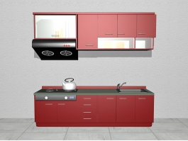 Small Apartment Red Kitchen Design 3d preview