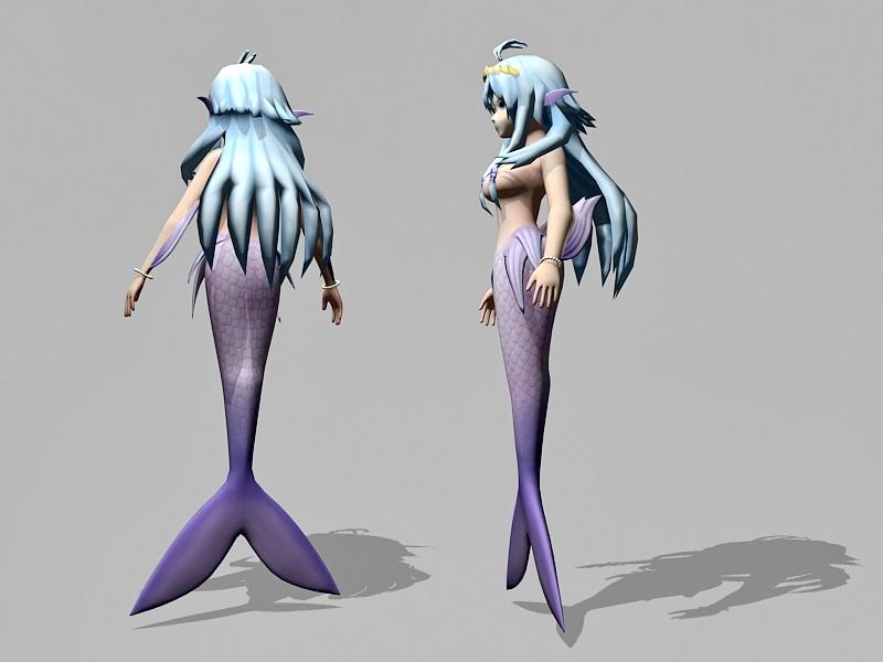 Pretty Anime Mermaid 3d rendering