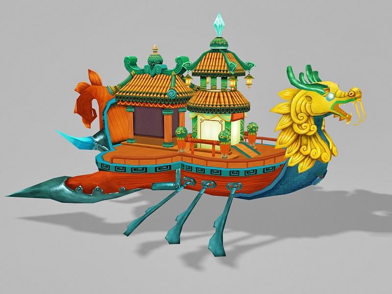 Anime Dragon Boat 3d rendering