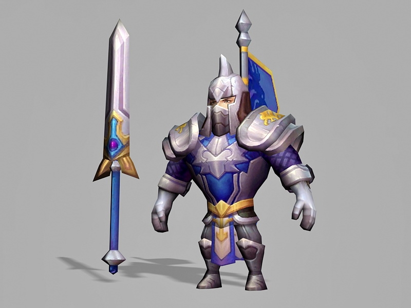 Anime Male Knight 3d rendering