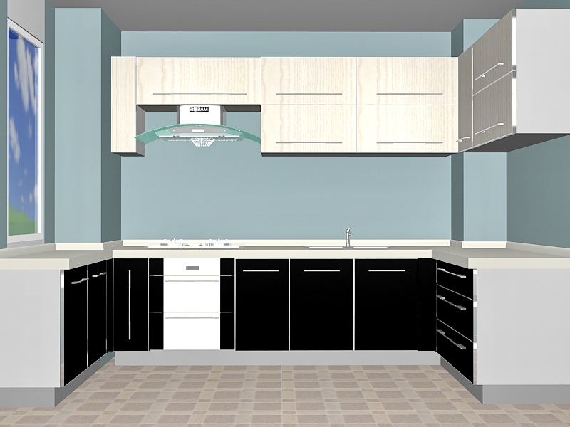Classic Small Kitchen Design 3d rendering