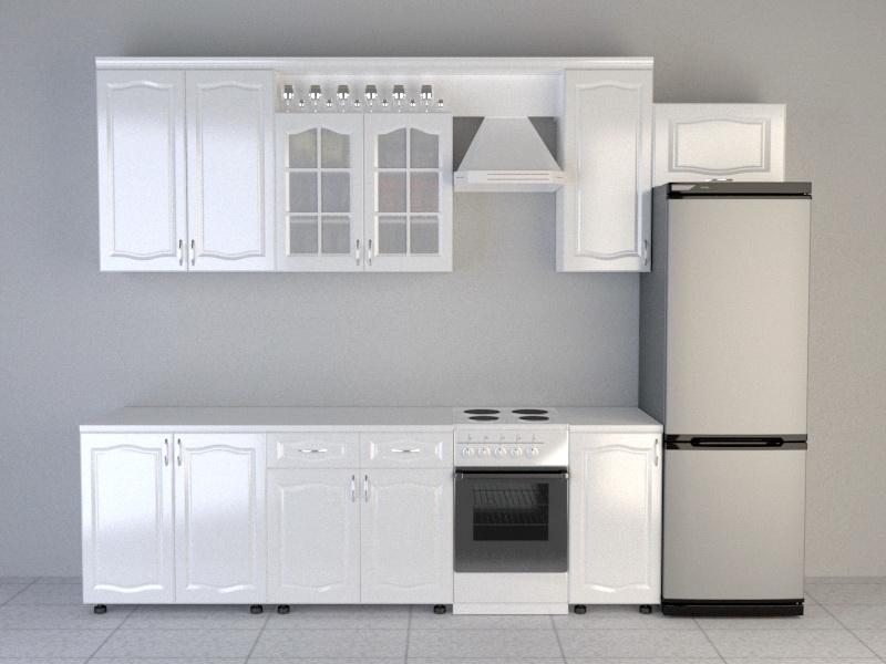 Modern White Kitchen Design 3d rendering