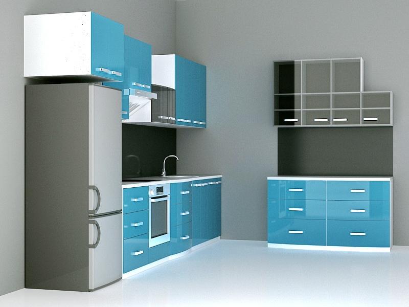 Blue Cabinet Kitchen Designs 3d rendering
