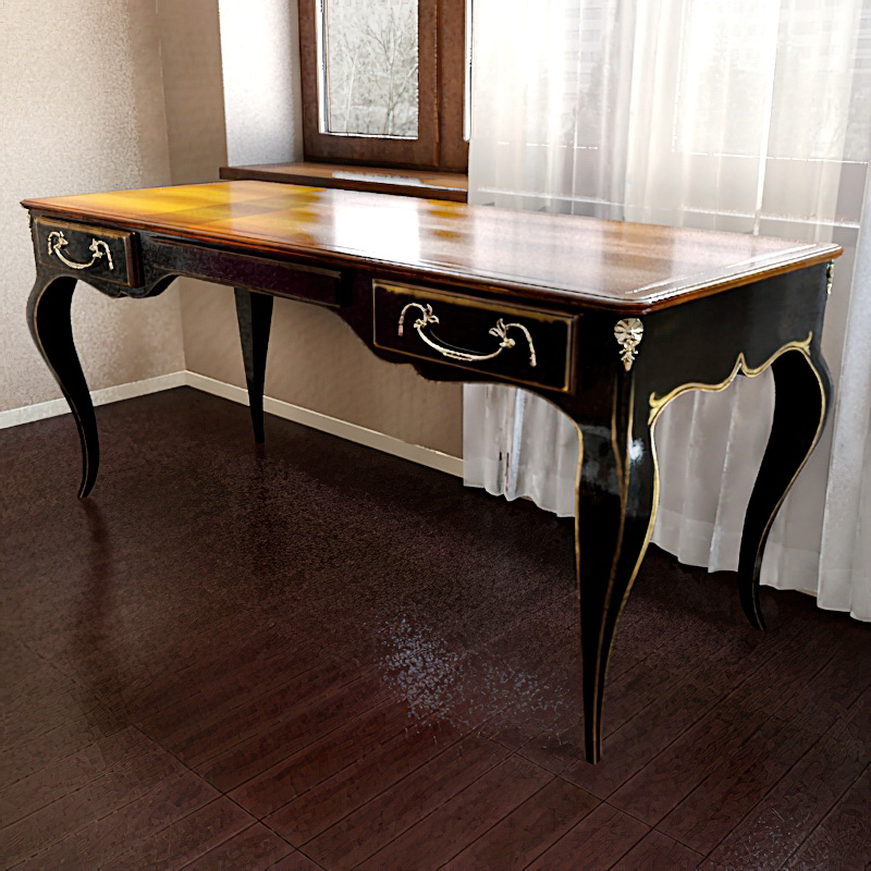Old Style Luxury Home Office Desk 3d rendering