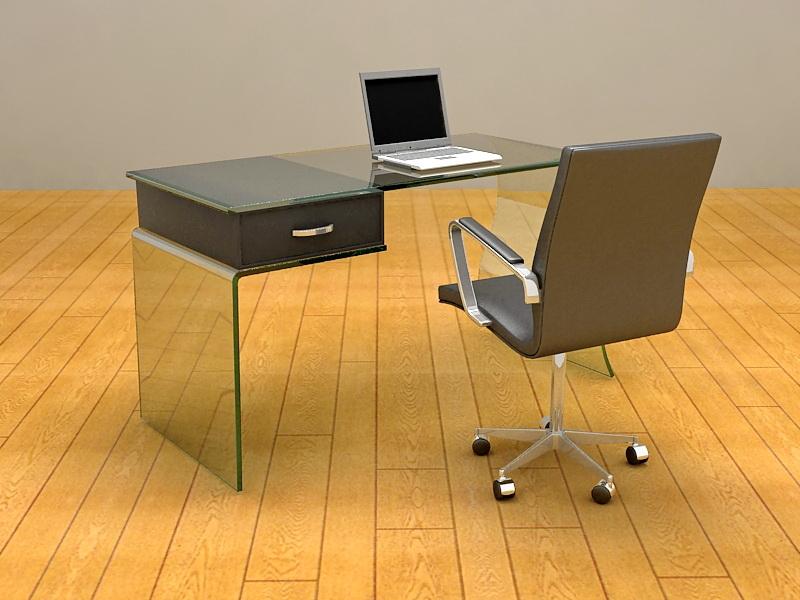 Glass Home Office Desk 3d rendering