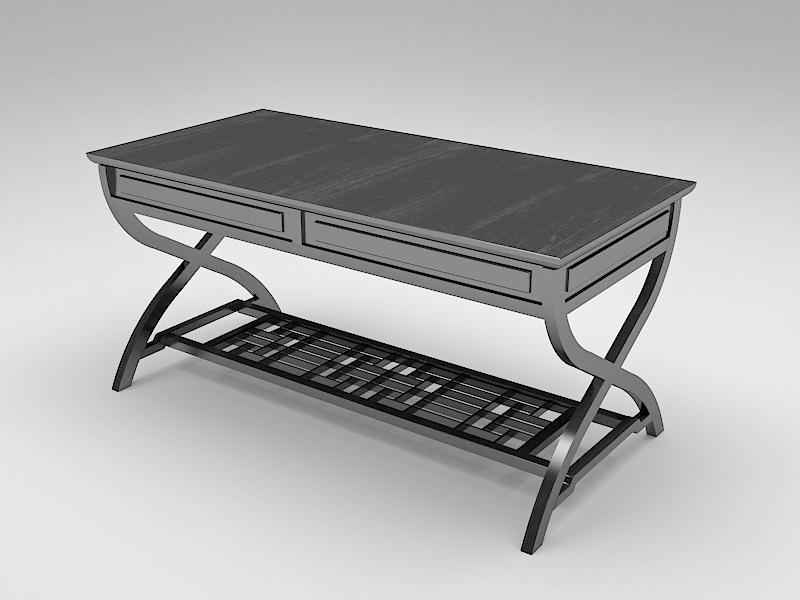Black Wood Home Office Desk 3d rendering