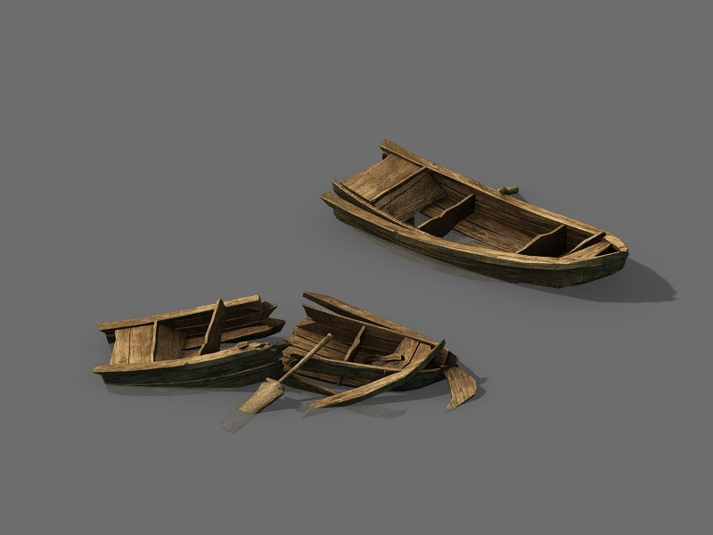 Old Broken Wooden Boats 3d rendering