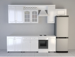 Modern White Kitchen Design 3d preview