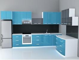 Blue Cabinet Kitchen Designs 3d preview