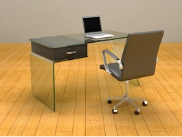 Glass Home Office Desk 3d preview