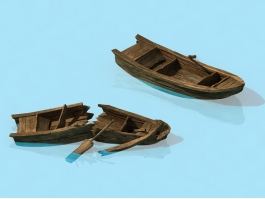 Old Broken Wooden Boats 3d preview