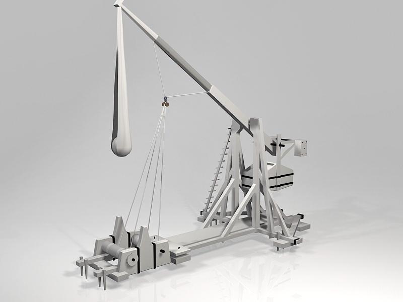Ancient Traction Trebuchet 3d rendering