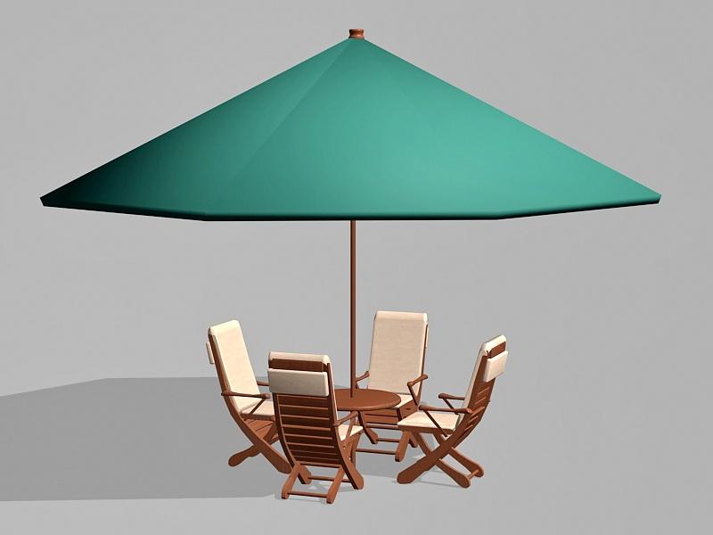 Small Outdoor Patio Set with Umbrella 3d rendering