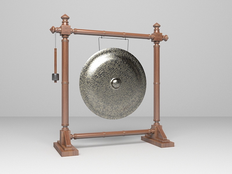 Chinese Gong Instrument 3d rendering
