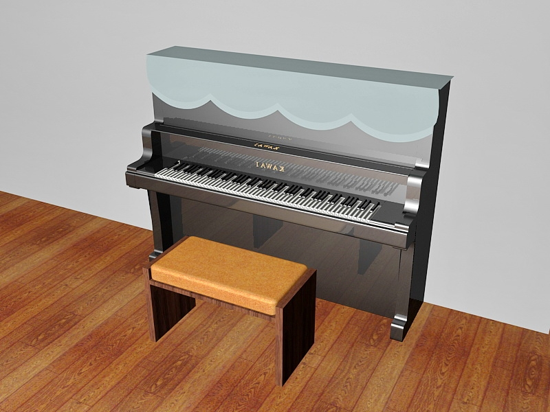 Piano with Bench 3d rendering