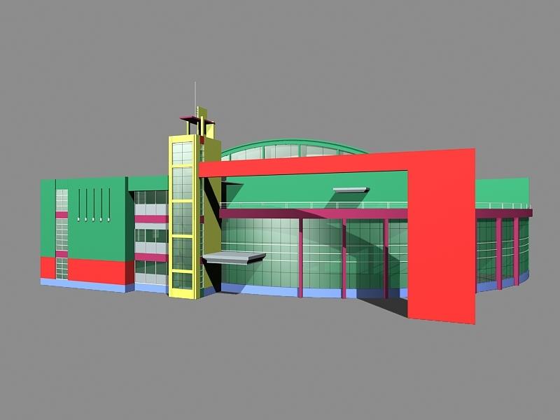 Supermarket Exterior Architecture 3d rendering