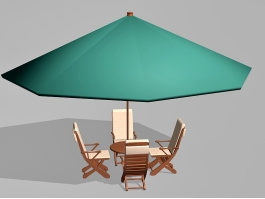 Small Outdoor Patio Set with Umbrella 3d preview