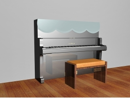 Piano with Bench 3d preview