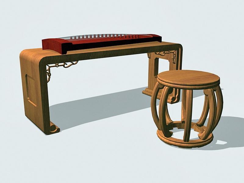 Chinese Guzheng 3d rendering