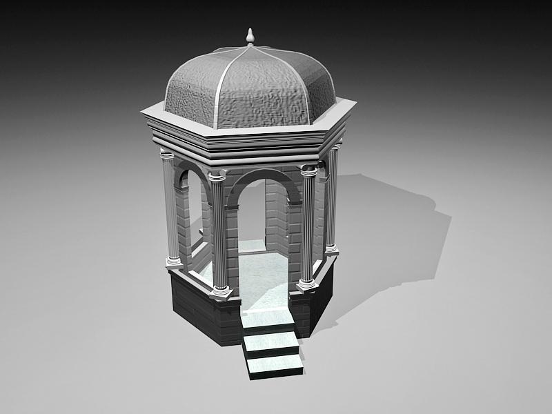 Hexagon Patio Gazebo 3d rendering