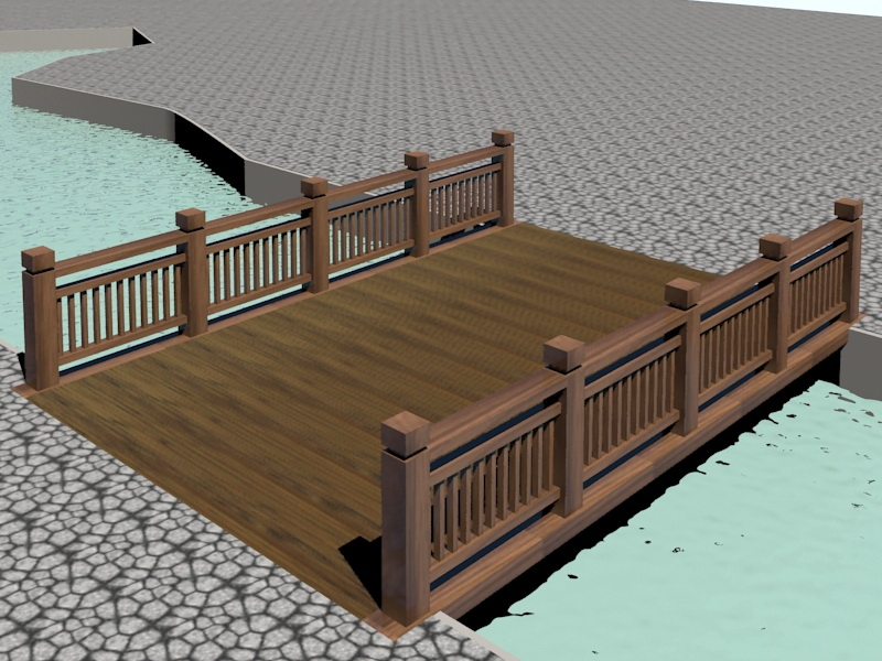 Wooden Landscape Bridge 3d rendering