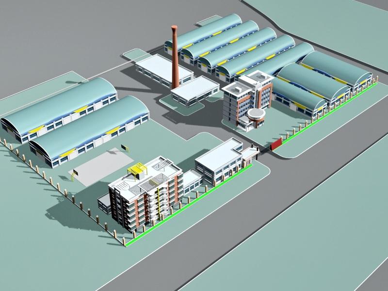 Industrial Factory Building Exterior 3d rendering