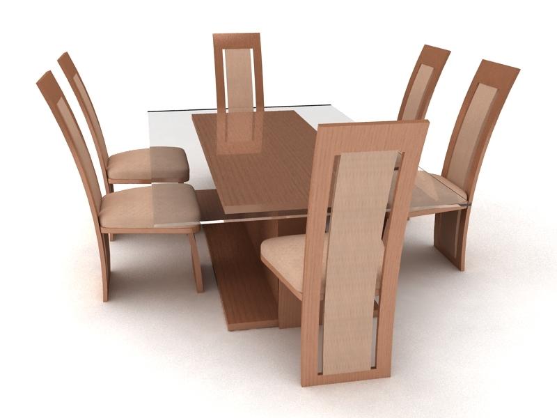 7 Piece Dining Room Set 3d rendering