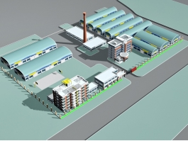 Industrial Factory Building Exterior 3d preview