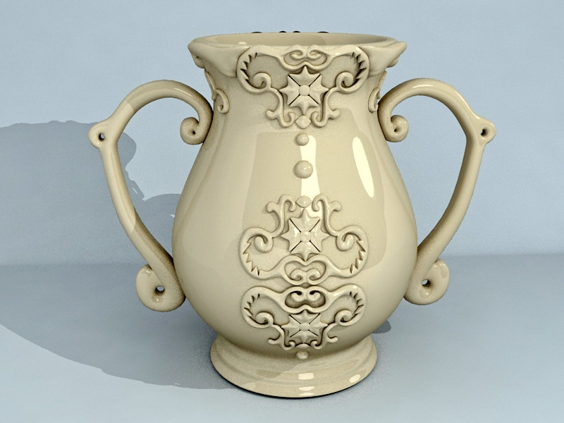 Glazed Pottery Vase 3d rendering