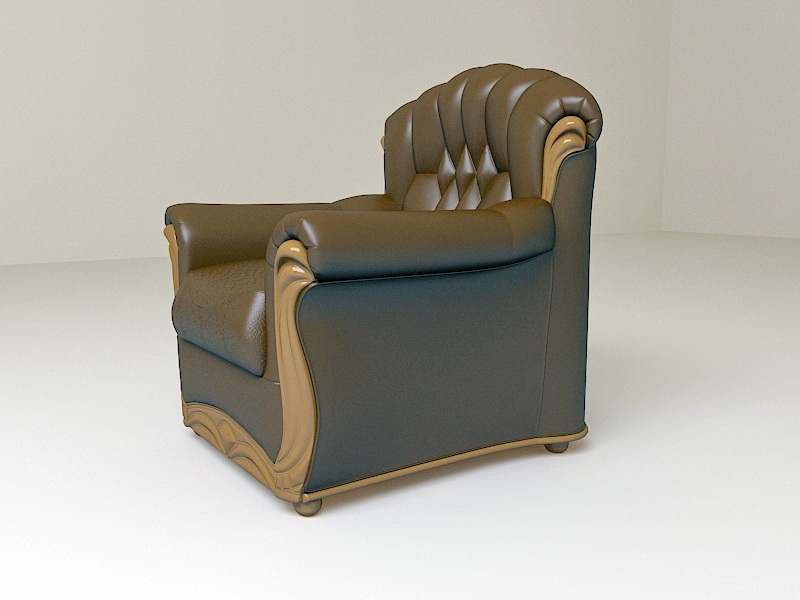 Classic Leather Club Chair 3d rendering
