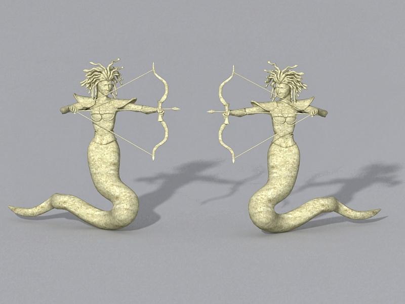 Medusa Greek Statue 3d rendering