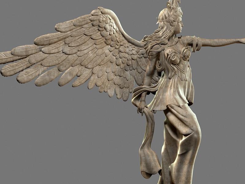 Female Warrior Angel Statue 3d rendering