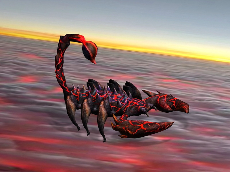 Lava Scorpion 3d rendering