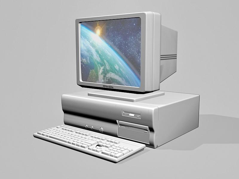 Vintage PC Old Desktop Computer 3d rendering